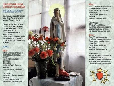 Tríptico Exposición Un espejo para orar, un reflejo para pensar: identidades y cultura en el marianismo Chile, 2009